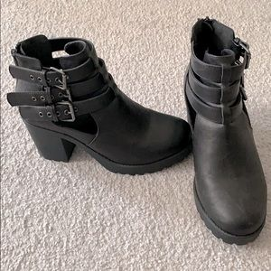 Faux leather platform buckle high heel ankle boots